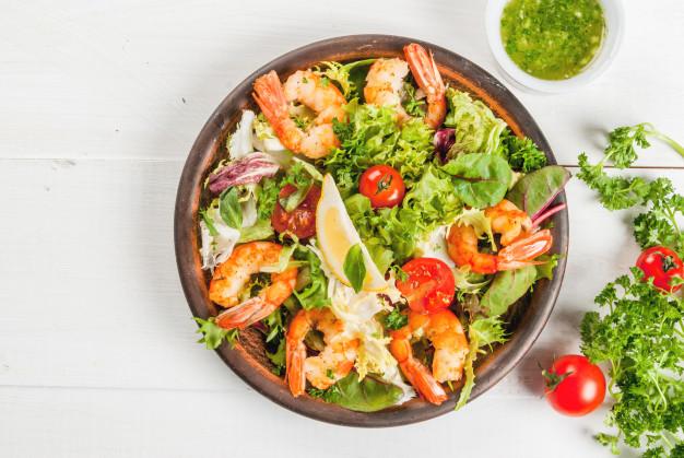 Salade tiede de crevettes Recettes BodySano